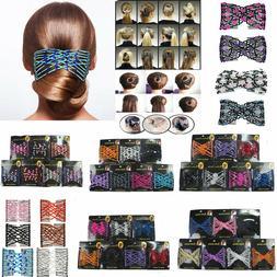 6 Pieces Beads Hair Combs Magic Elastic Hair Double Clips St