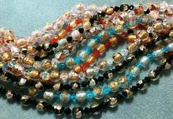 "!6"" Strand Gold Foil-Lined Venetian-Style 9mm Lampwork Beads"