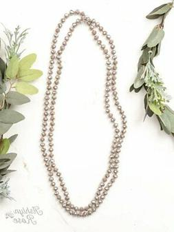 "60"" Double Wrap Beaded Necklace Iridescent Taupe 8mm"