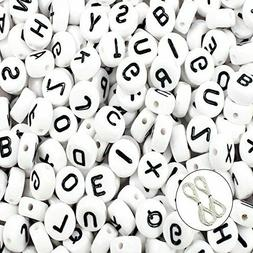 JPSOR 600pcs 4x7mm Acrylic White Round Letter Beads for Brac