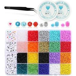 6800Pcs Pony Beads Kit,Mix Color Bicone/Rondelle/Letter Bead