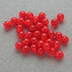 6mm 200 Count Round Fluorescent RED Beads USA Fishing Tackle
