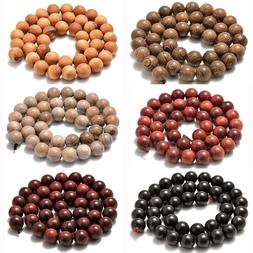 """6mm 8mm 10mm Natural Wood Beads Round Polygons Spacer 15"""" St"""