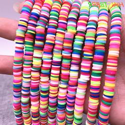 6mm color polymer clay beads slices for girls bracelet makin