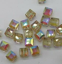 6pc Swarovski Crystal Cantaloupe AB 6mm Cube 5601 Beads; Col