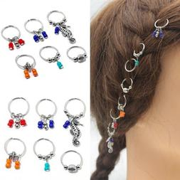 7/8Pcs Women Girls Boho Beads Pendant Rings Hair Clip Access