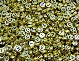 7mm Metallic Gold Round Letter Coin Beads Jewellery Kids Cra