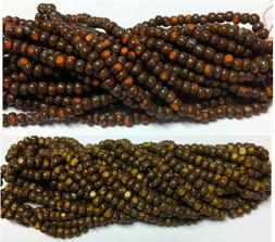 8/0 Rustic Czech Glass One-cut Picasso Seed Beads - 12-stran
