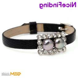 8-9mm Freshwater Pearl Rhinestone Leather Bracelets Adjustab