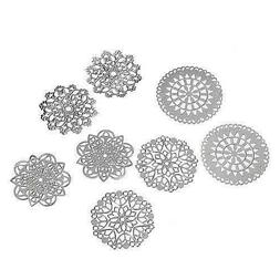 8 Assorted Silver 31mm Filigree Focal Point Bead Cabochon Co