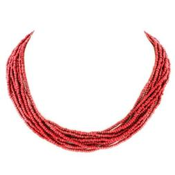 "8 STRAND 18"" CORAL RED GLASS SEED BEADS necklace"