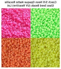 80 g Czech 5/0 Neon Opaque Matte Rocaille  Glass Seed Beads