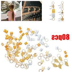 80pcs Hair Braid Ring Beads Dreadlocks Cuff For Hair Extensi