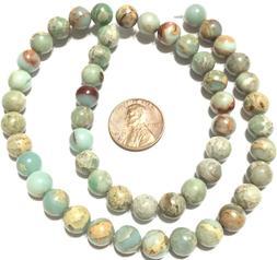 8mm Amazing Green Tan Sediment Jasper beads Round GemStone J