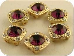 8mm Amethyst Beads GALA Swarovski Crystal Elements GOLD 2 Ho