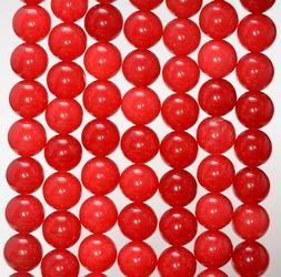 8MM COLOR RED JADE GEMSTONE ROUND LOOSE BEADS 15""