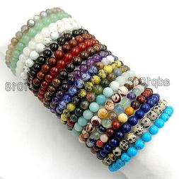 8mm Handmade Mixed Natural Gemstone Round Beads Stretchy Bra