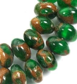 8x5mm Emerald in Quartz with Pyrite Rondelle Beads