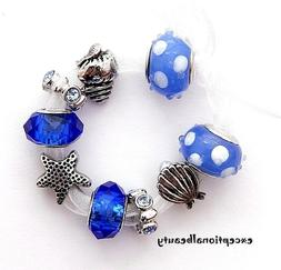 9 Large Big Hole Silver Rhinestone Spacer Shell Beads Fit Eu