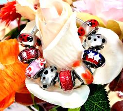 9 Pandora Silver 925 Murano Charms  Red Ladybugs Roses Bubbl