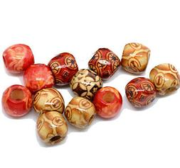 90 Wood Large Hole Macrame Beads 12mm Mixed Colors Painted