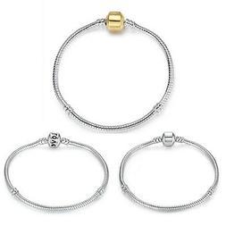 BAMOER S925 Silver Plated Snake Bracelet Chain Fit Women Eur