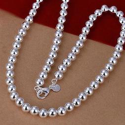 925 Sterling Silver Plated Necklace Hollow Beads Balls 20 In