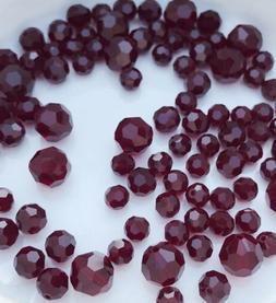 93 Swarovski Crystal Garnet Faceted 5, 6 & 8mm Round Beads J