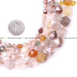 AAA Faceted Multi Color Hair Rutilated Quartz Beads Gemstone