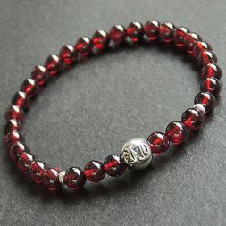 AAA Garnet Sterling Silver Bead Bracelet Mens Women 5.5mm Be