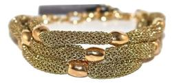 Adami and Martucci 3-String Gold Mesh Bracelet with Gold Bea