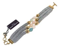 Adami and Martucci Three-String Soft Silver Mesh Bracelet wi