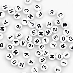 Alphabet Beads 7mm 150/Pkg-White Round W/Black Letters