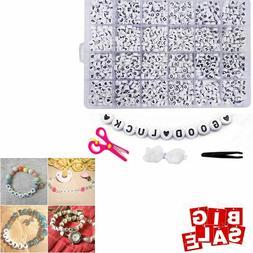 Alphabet Letter Beads Acrylic White Round A-Z Heart Letter B