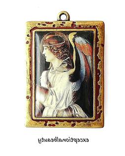 Angel Altered Art Bead Drop Antiqued Brass Frame Red Accent