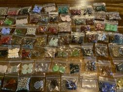 Assorted Beads Large Lot Mixed 25 Bags Glass New Jewelry Mak