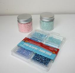 Assorted Blue and Pink Iridescent Small Beads for Craft or J