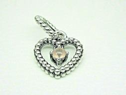 Authentic Pandora #798854C06 Heart Dangle Charm June Misty R
