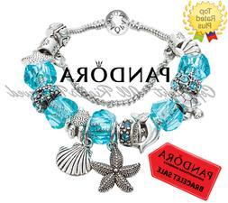 Authentic Pandora Bracelet Bangle Blue with Beach Inspired E