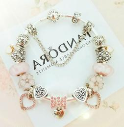 Authentic PANDORA Bracelet Silver with Pink Love Heart Europ
