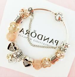 Authentic Pandora Charm Bracelet Silver Bangle with Love Hea