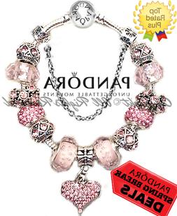 Authentic Pandora Bracelet Silver Pink Heart LOVE STORY with