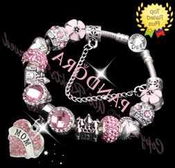Authentic Pandora Charm Bracelet Silver Pink MOM HEART with