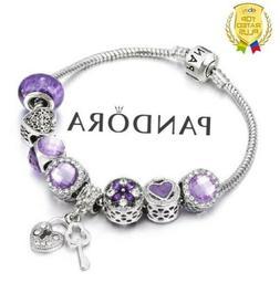 Authentic Pandora Charm Bracelet Silver Purple Love Heart wi