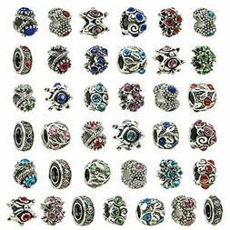 Authentic Pandora Charms 30 Assorted Crystal Rhinestone Bead
