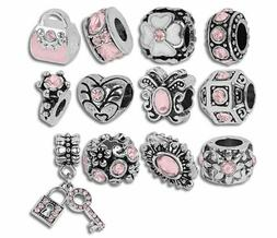 Authentic Pandora Charms12 of Assorted Pink Crystal Rhinesto
