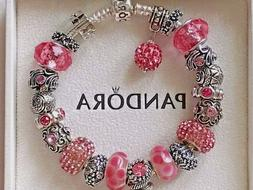 Authentic PANDORA S925 Silver Bracelet with Pink Murano Glas