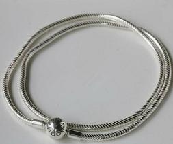 Authentic Pandora Silver Necklace Embossed Ball Clasp Snake