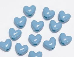 Baby Blue Heart shaped pony beads made in USA for crafts hai