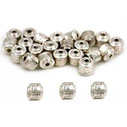 Barrel Bali Beads Silver Plated Jewelry 5mm Approx 25